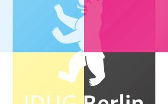 IDUG Berlin Logo, dargestellt in den 4 Farbauszügen der Druckfarben CNYK