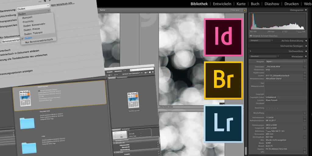 Bildschirmfotos von Adobe-Anwendungen