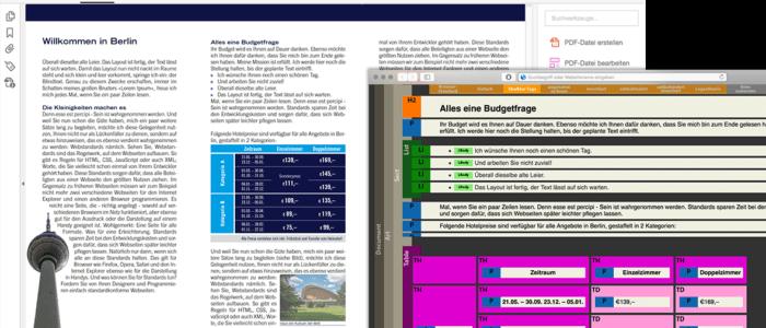 Bildschirmfotos von dem Prozess zur Erstellung von barrierefreien PDFs